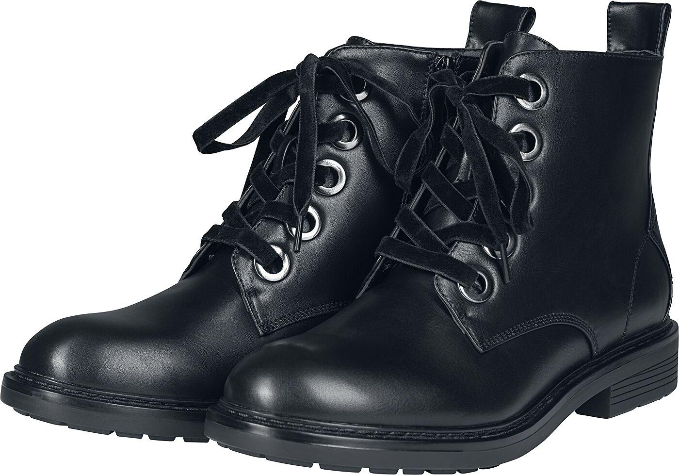 Stiefel für Frauen - Urban Classics Velvet Lace Boot Stiefel schwarz  - Onlineshop EMP