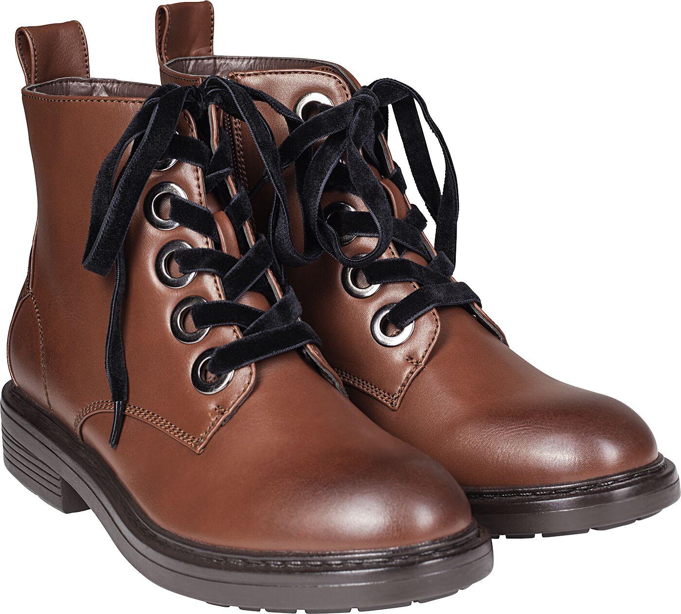 Stiefel für Frauen - Urban Classics Velvet Lace Boot Stiefel braun  - Onlineshop EMP