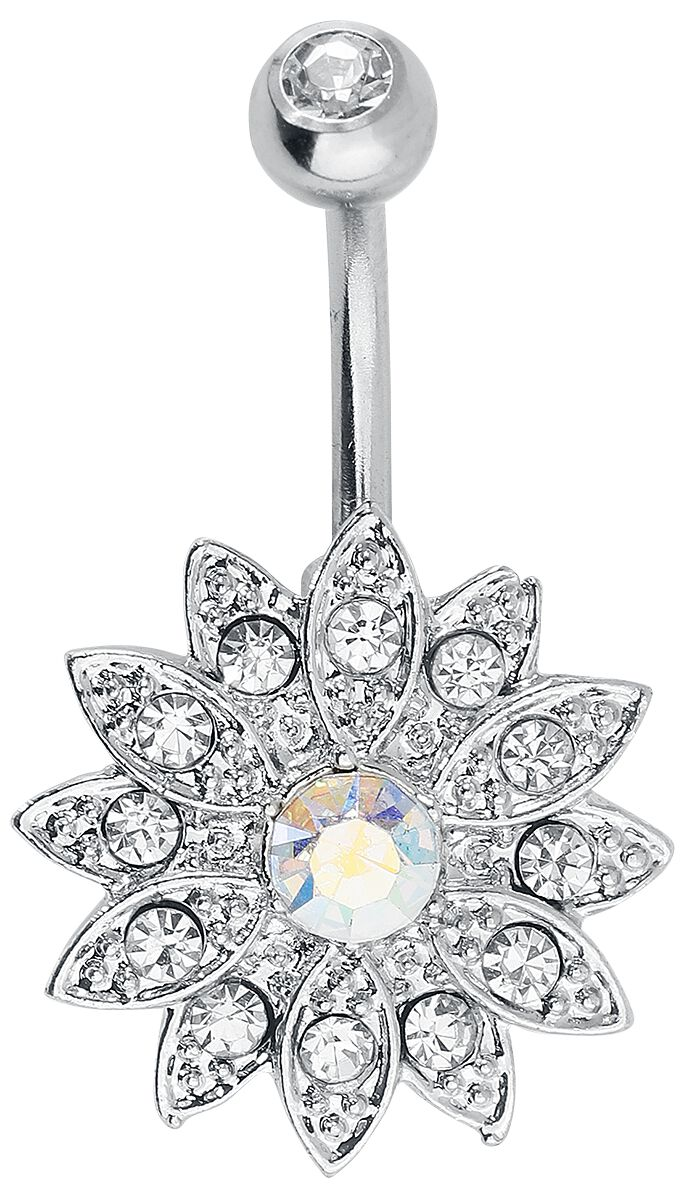 Hautwerk Blume Bauchnabel-Piercing silberfarben