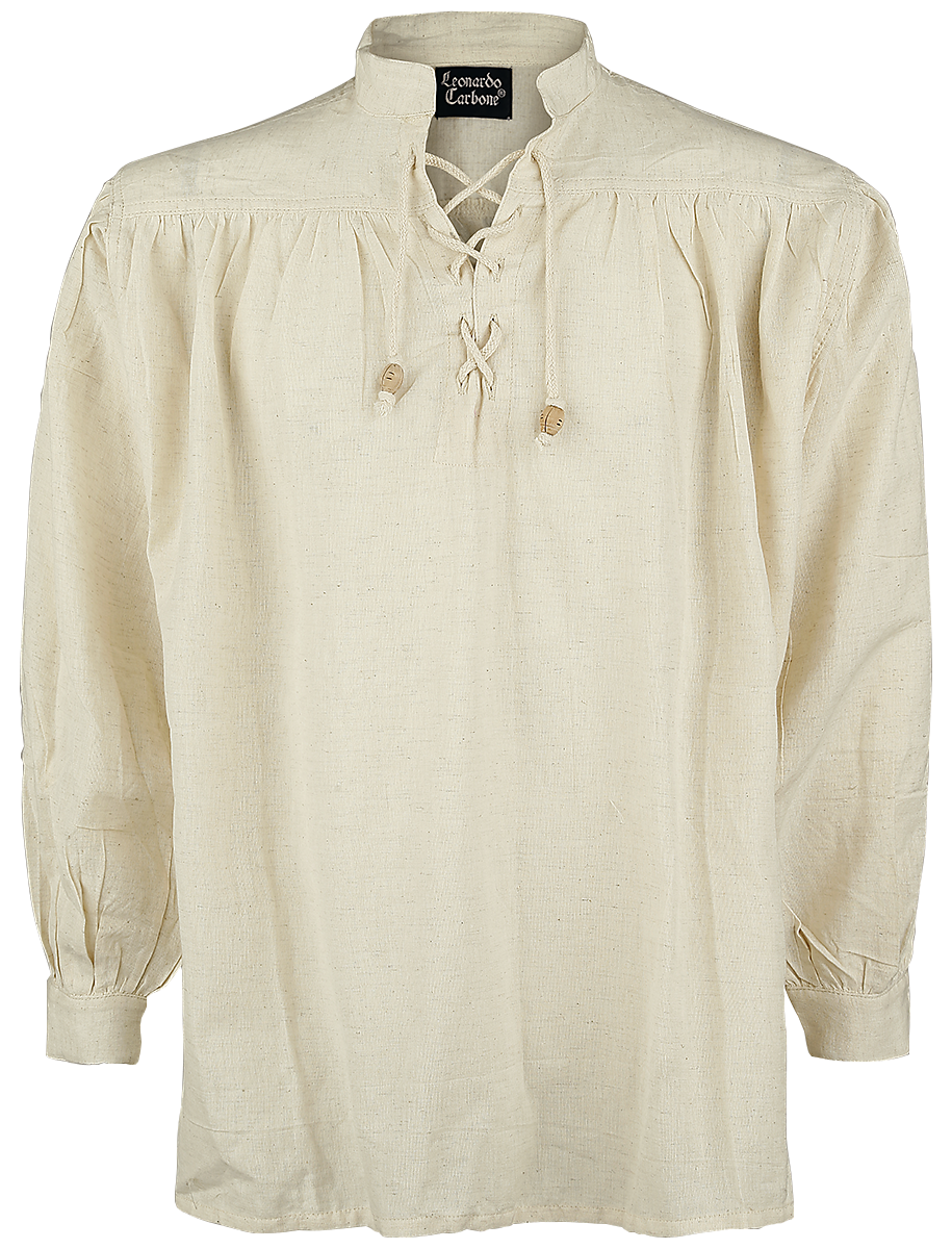 Leonardo Carbone - Medieval Lace-Up Shirt with Standing Collar - Shirt - natural