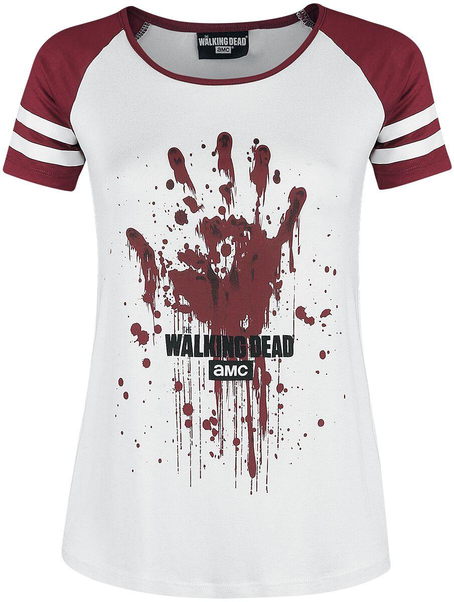 Image of   The Walking Dead Hand Girlie trøje hvid-rød