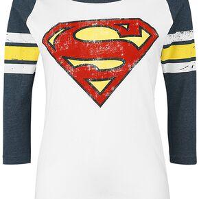 Superman Logo Manches Longues Femme blanc/ bleu moucheté