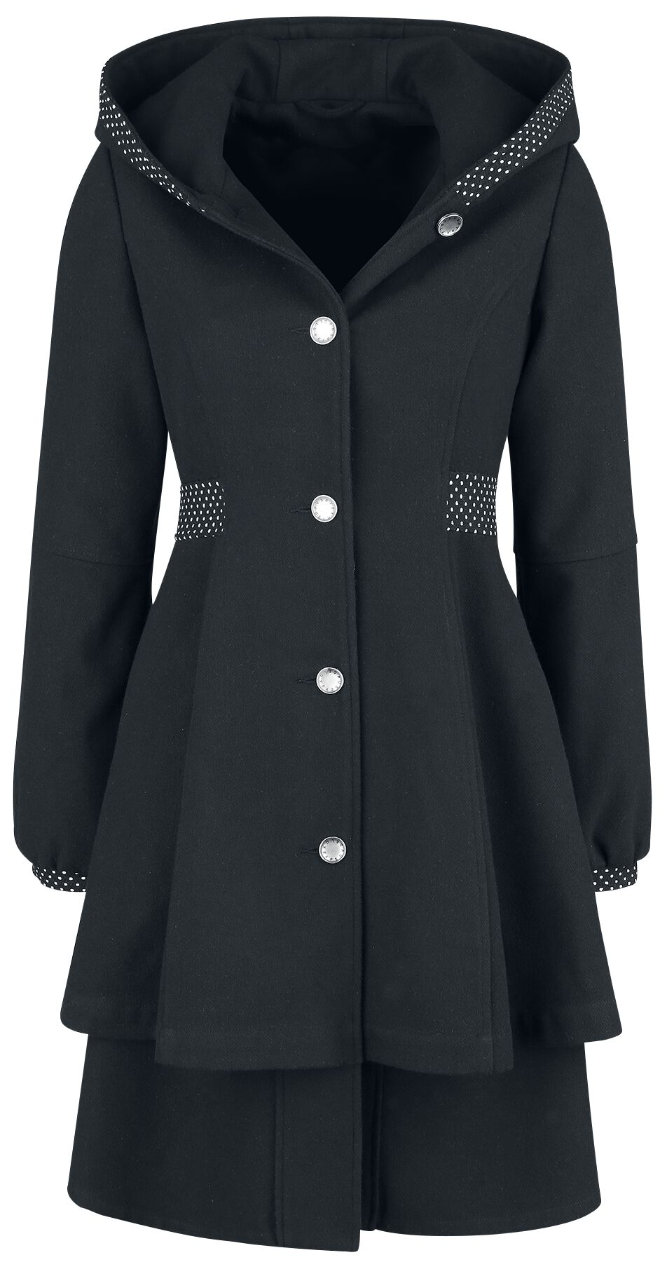Image of   Pussy Deluxe Pretty Dotties Girl Coat Girlie frakke sort