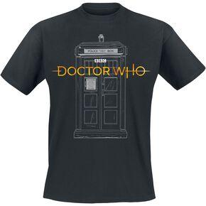 Doctor Who Logo 13e Docteur Tardis T-shirt noir