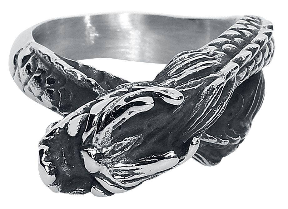 Image of   etNox hard and heavy Drache Ring sølvfarvet