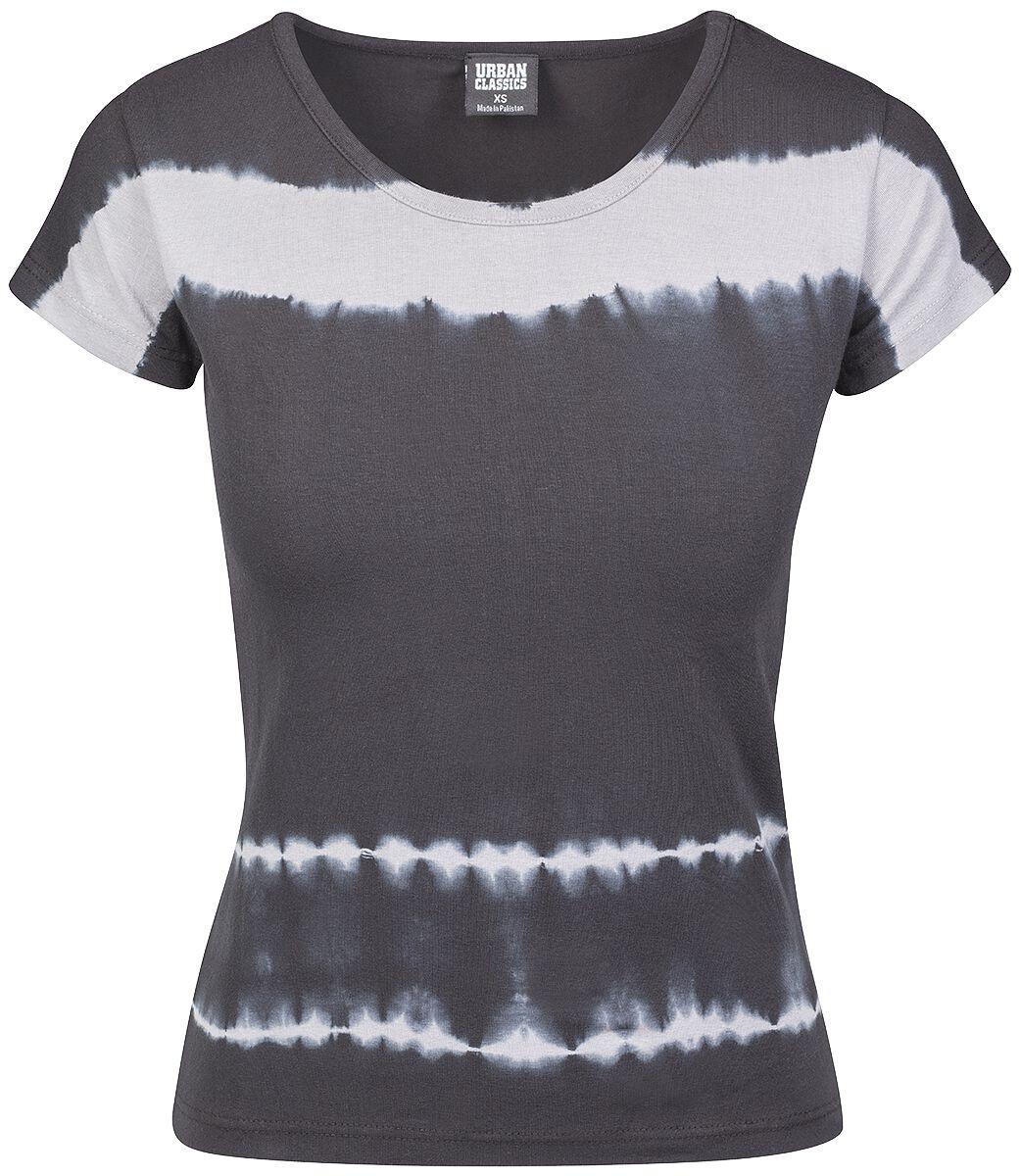 Urban Classics Ladies Striped Tie Dye Tee Koszulka damska czarny/szary