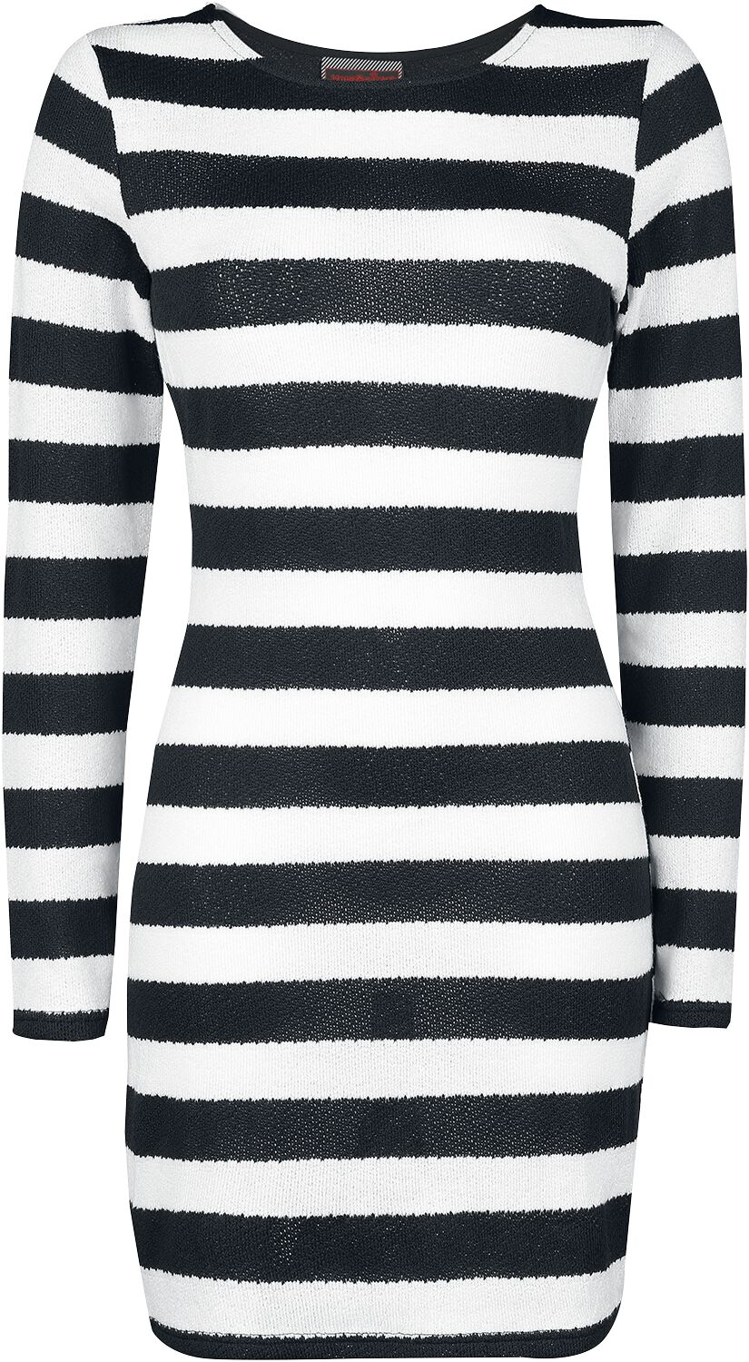 Image of   Jawbreaker Striped Sweater Dress Kjole sort-hvid
