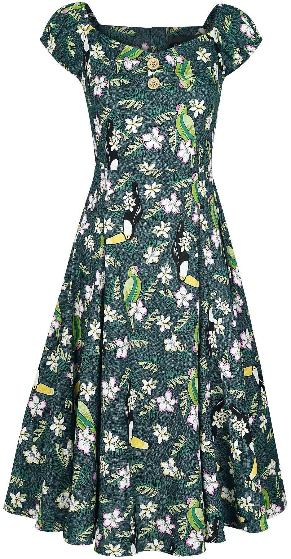 Collectif Clothing Dolores Tropical Bird Doll Dress Sukienka wielokolorowy