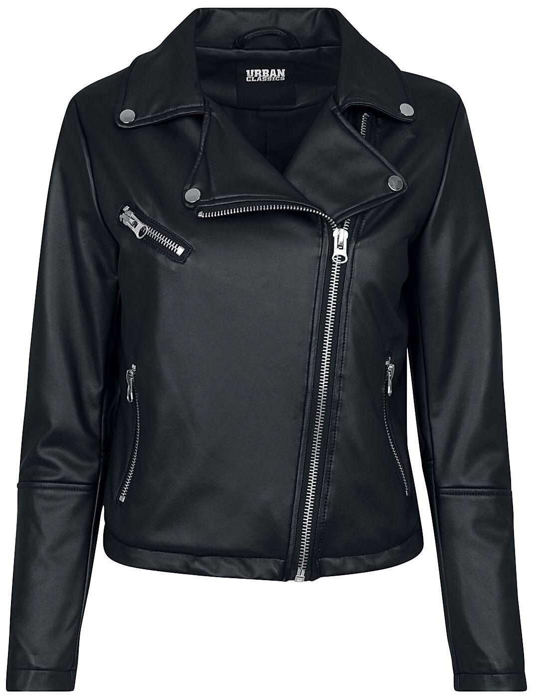 Image of   Urban Classics Ladies Faux Leather Biker Jacket Girlie jakke sort