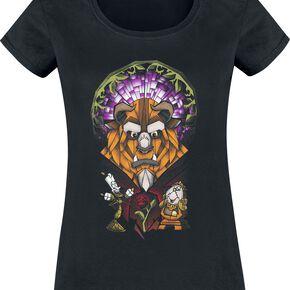 La Belle Et La Bête Vitraux T-shirt Femme noir