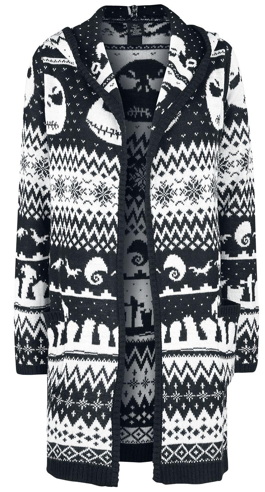 Image of   The Nightmare Before Christmas Intarsia Toss Pigecardigan sort-hvid
