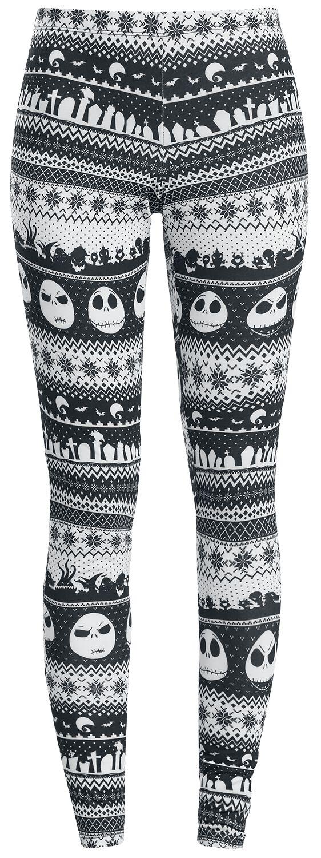 Image of   The Nightmare Before Christmas Intarsia Stripe Leggings sort-hvid