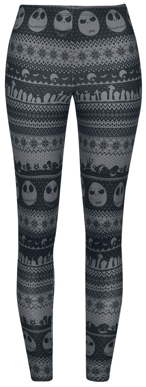 Image of   The Nightmare Before Christmas Intarsia Stripe Leggings sort-grå