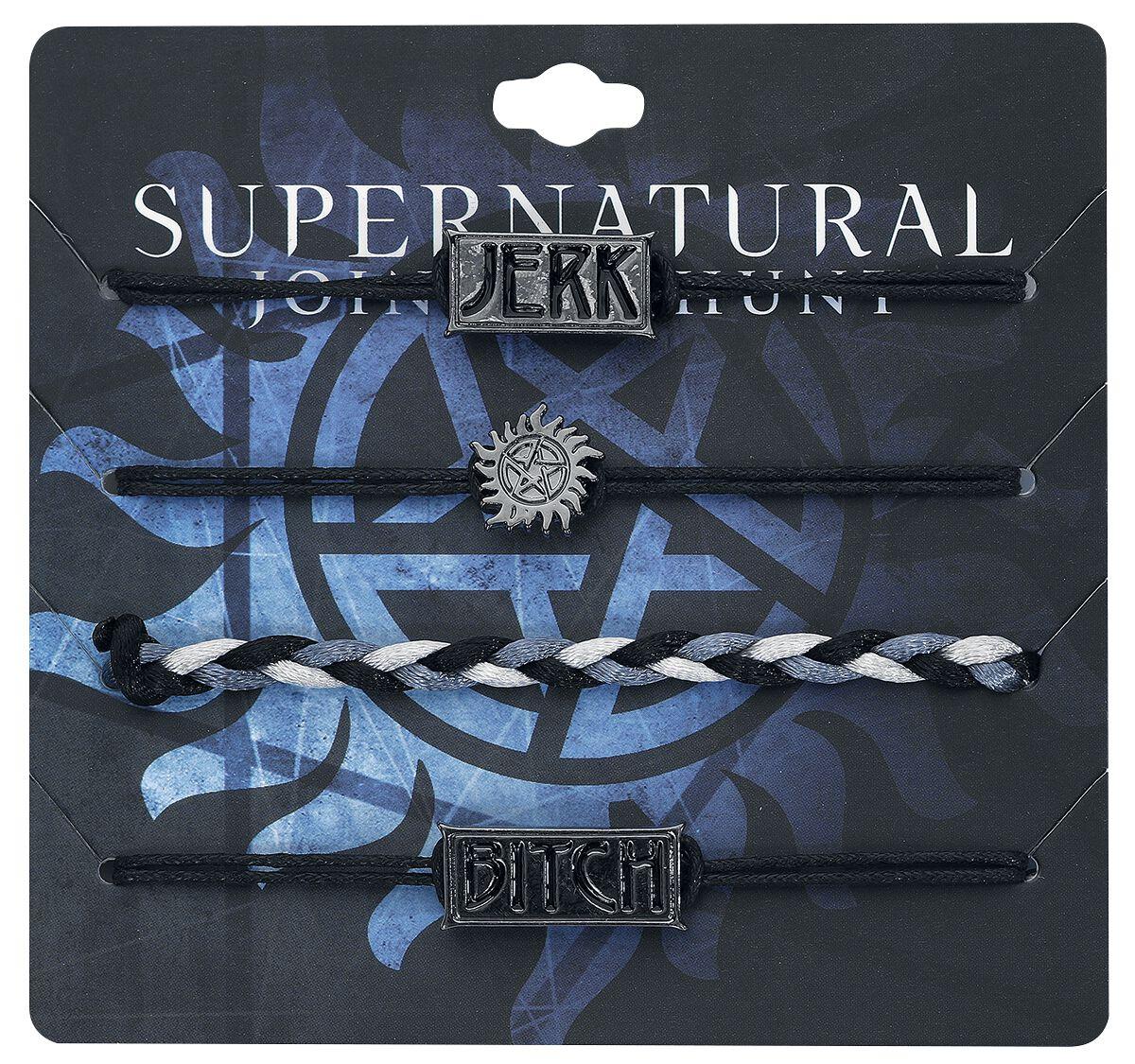 Image of   Supernatural Bitch & Jerk Armbånd, sæt sort-sølv
