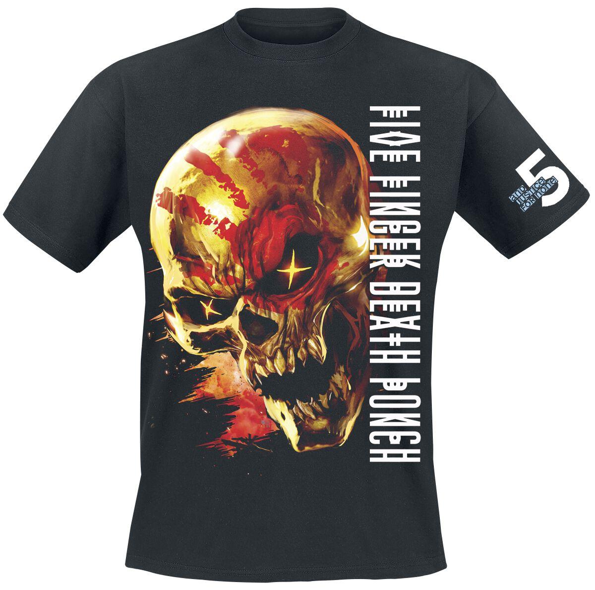 Image of   Five Finger Death Punch Justice For None Skull T-Shirt sort