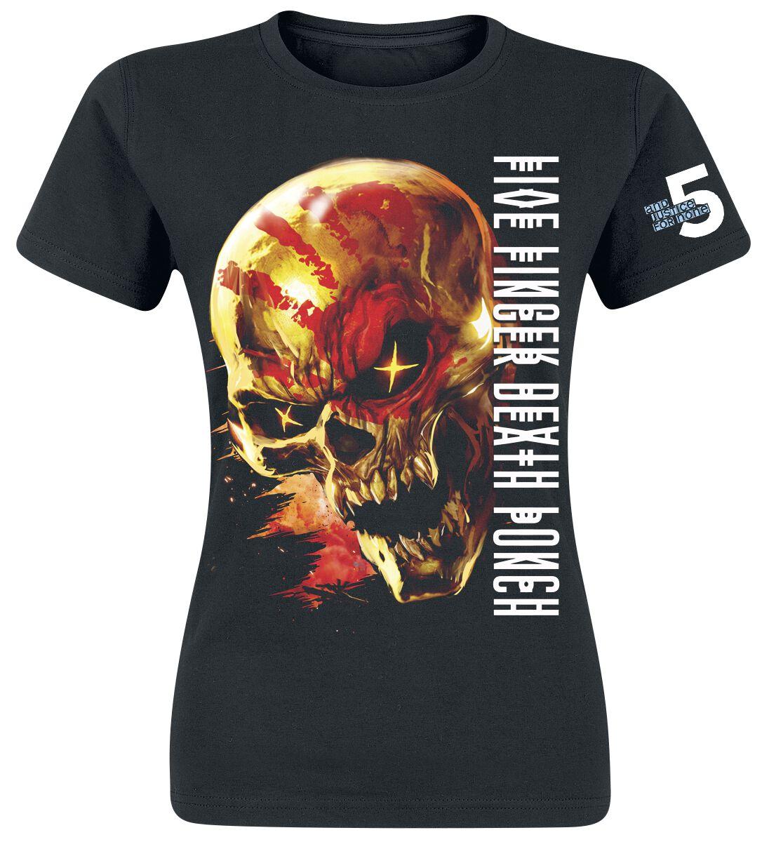 Image of   Five Finger Death Punch Justice For None Skull Girlie trøje sort