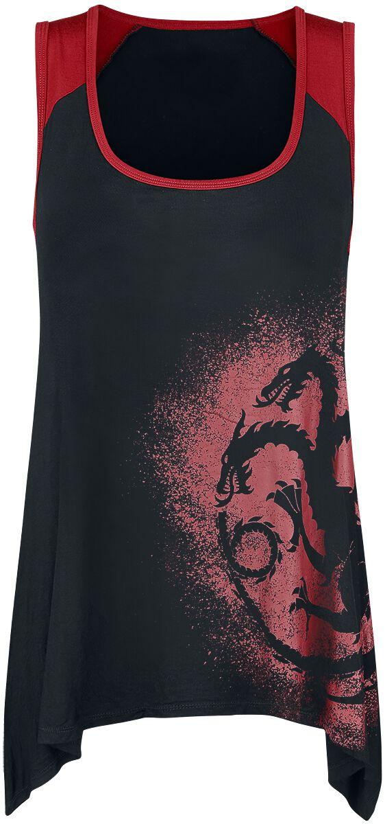 Image of   Game Of Thrones Targaryen Girlie top sort-rød