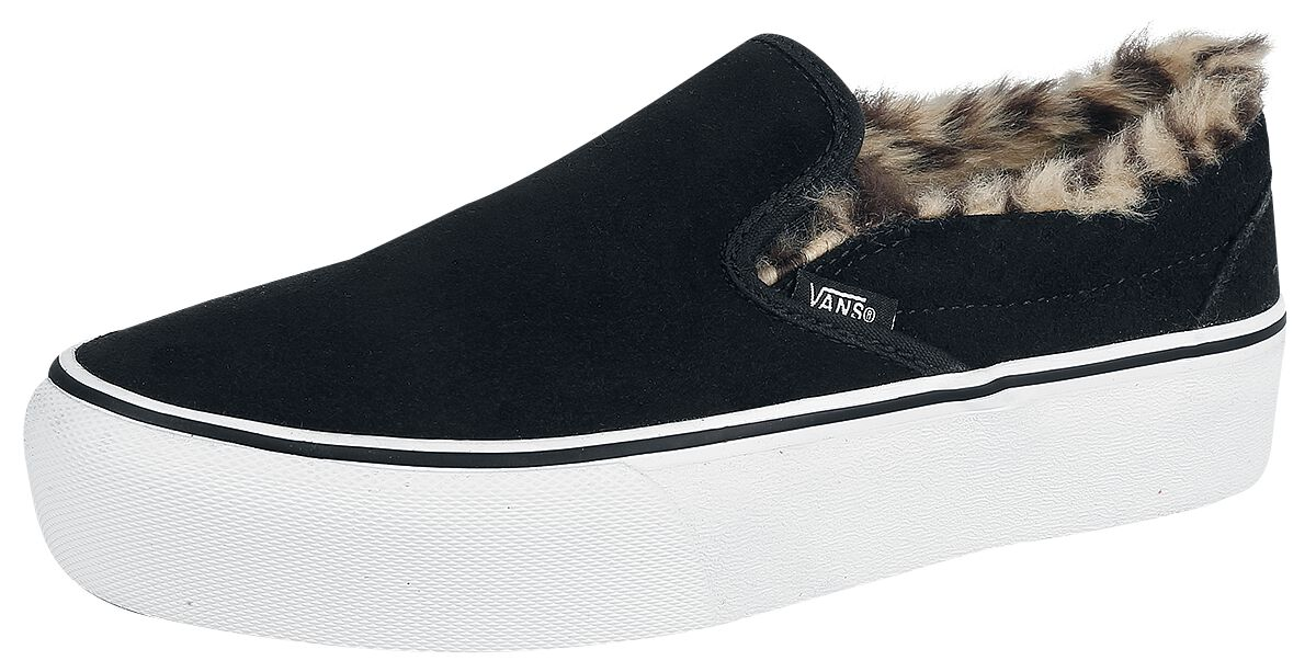 Image of   Vans Classic Slip-On Platform Suede / Fur Sneakers sort