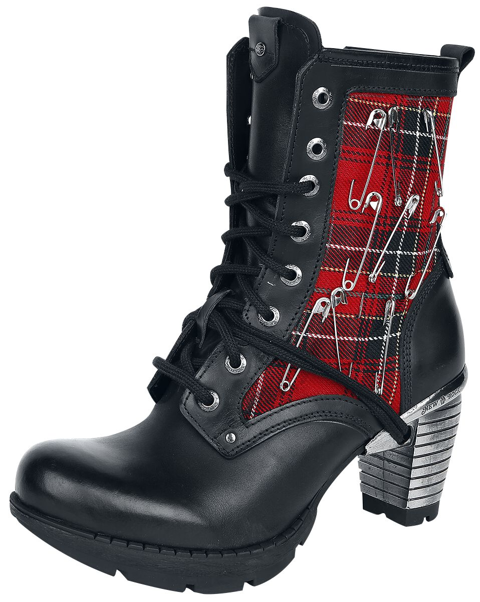 Stiefel für Frauen - New Rock Neotyre Negro Tela Stiefel schwarz rot  - Onlineshop EMP