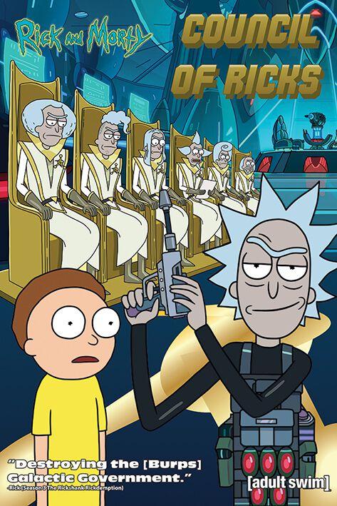 Image of   Rick And Morty Council of Ricks Plakat multifarvet