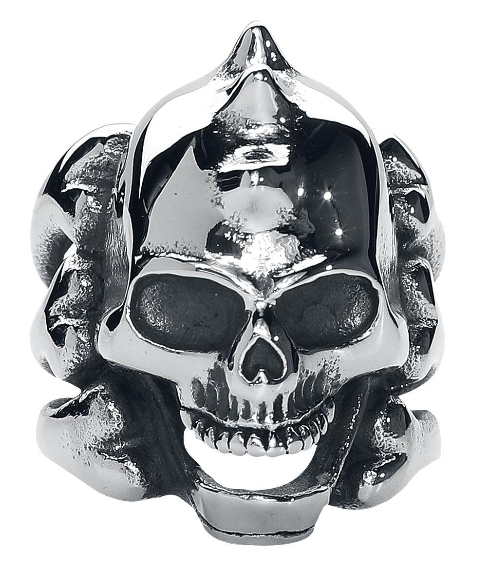 Image of   etNox hard and heavy Spiky Skull Ring sølvfarvet