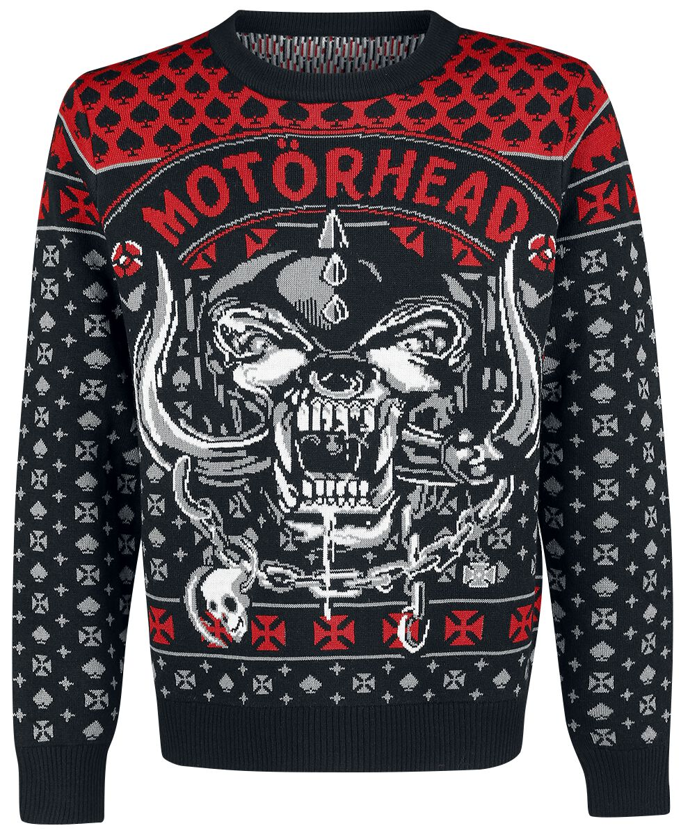 Image of   Motörhead Holiday Sweater 2018 Strikketrøje sort-rød