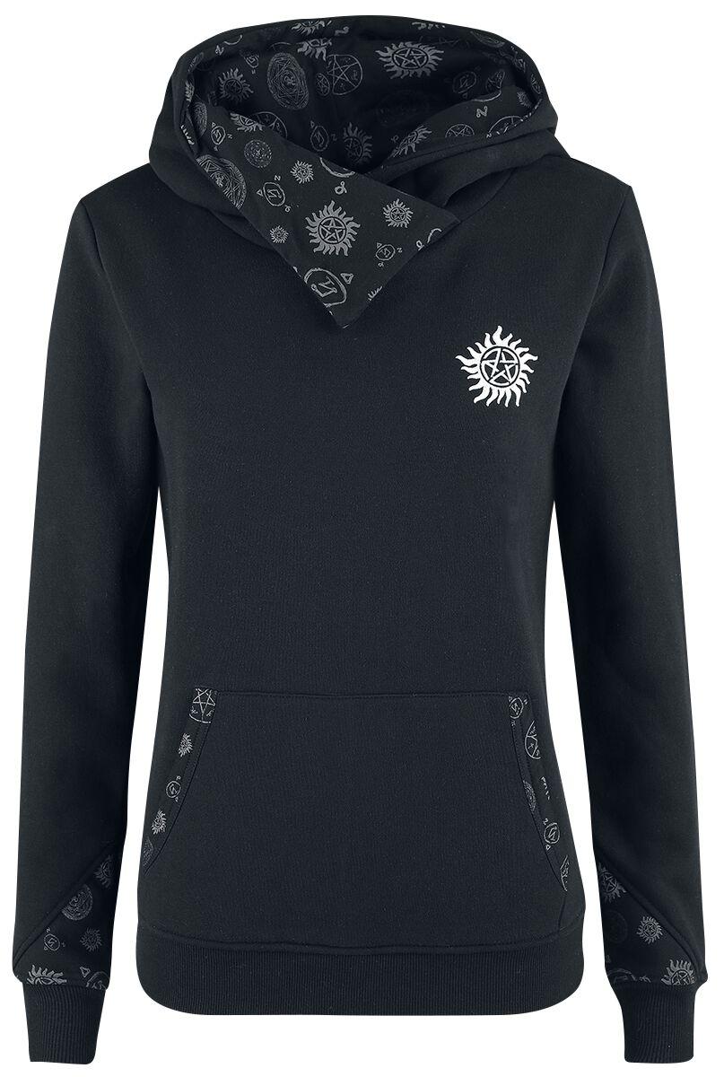 Image of   Supernatural Symbols Girlie hættetrøje sort