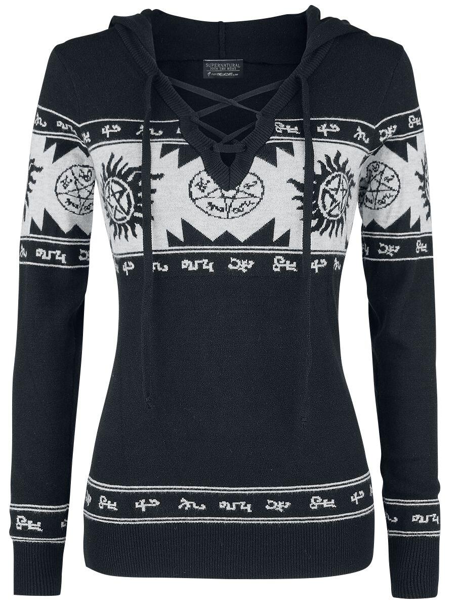 Image of   Supernatural Symbol Girlie sweater sort-grå