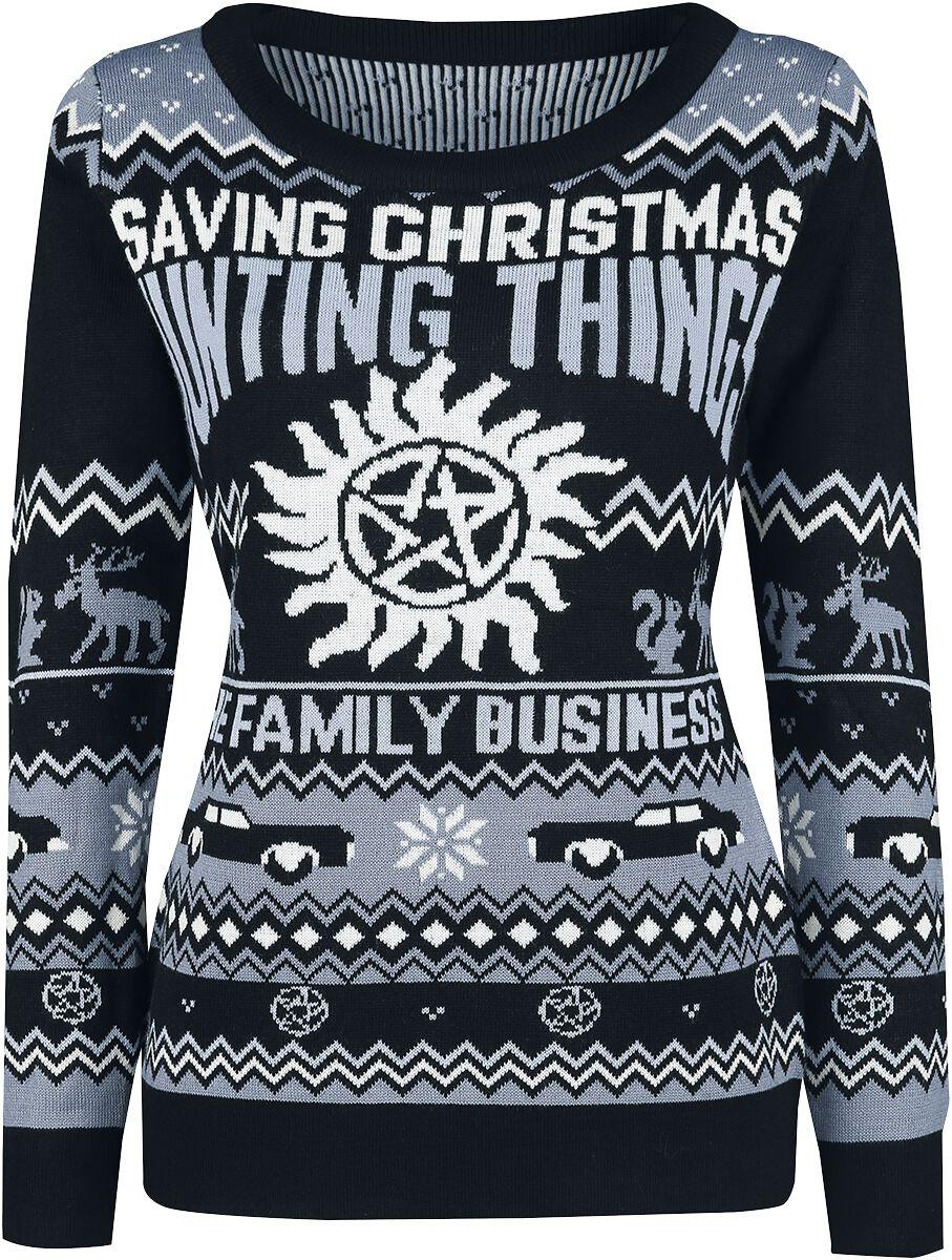 Image of   Supernatural Saving Christmas Hunting Things Girlie sweater multifarvet