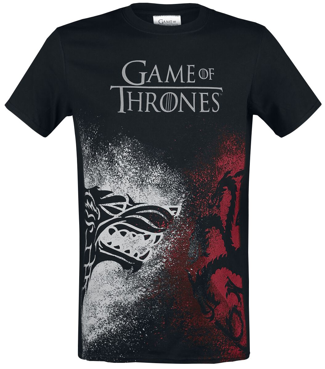 Image of   Game Of Thrones Stark And Targaryen Sigils - Face Off T-Shirt sort