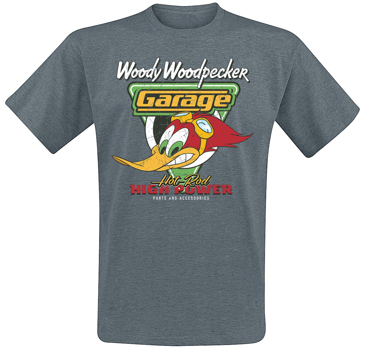Woody Woodpecker Hot Rod Garage T-Shirt dunkelg...