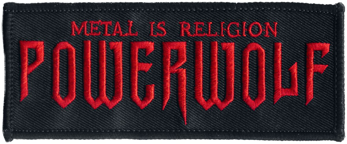 Image of   Powerwolf Metal Is Religion Patch sort-rød
