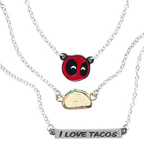 Deadpool Tacos Collier couleur argent