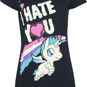 Unicorn I Hate You T-shirt Femme noir