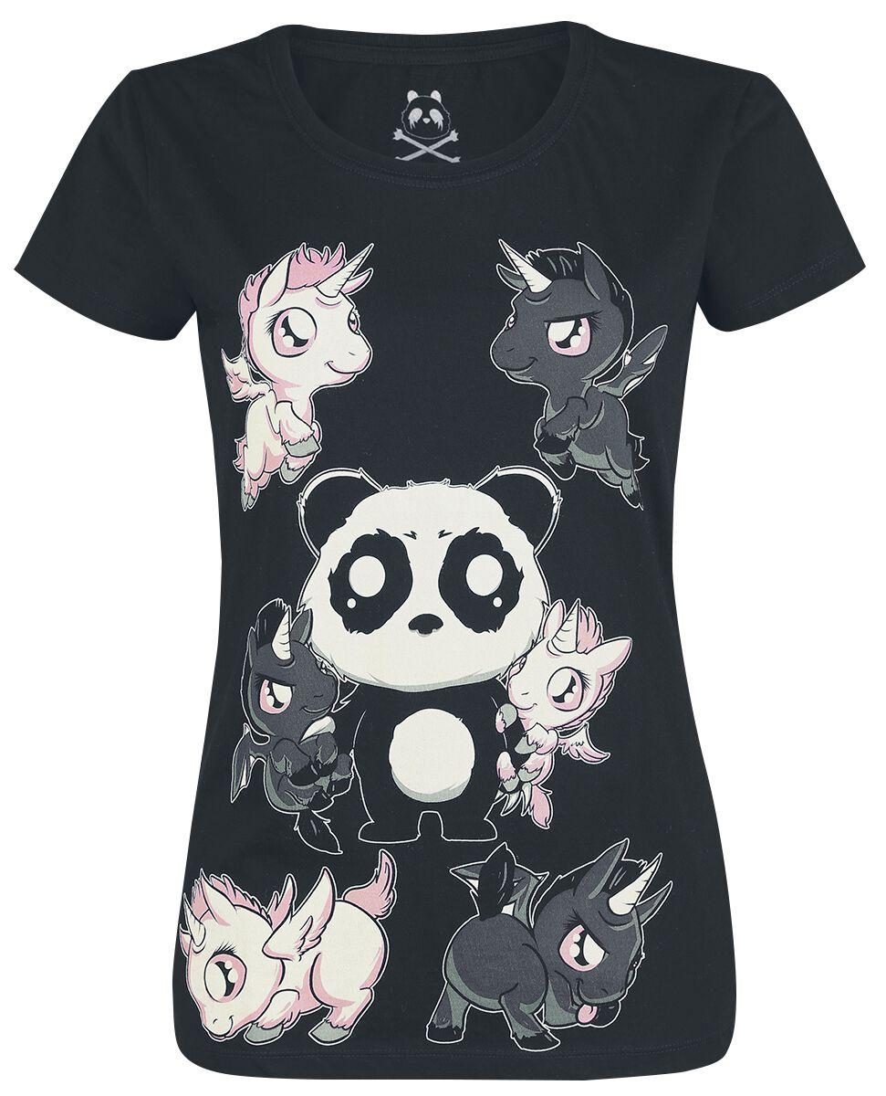 Jednorożec Panda Koszulka damska czarny