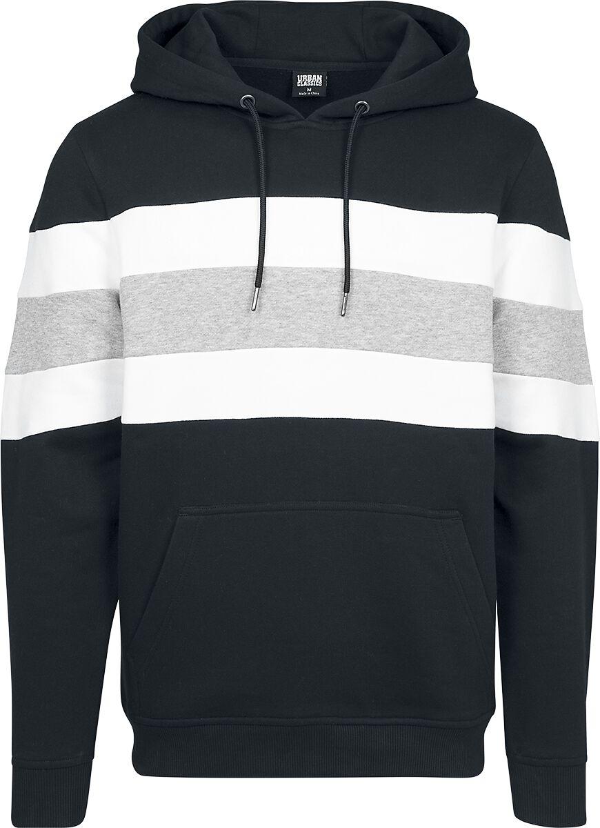 Image of   Urban Classics Chest Striped Hoody Hættetrøje sort-grå-hvid