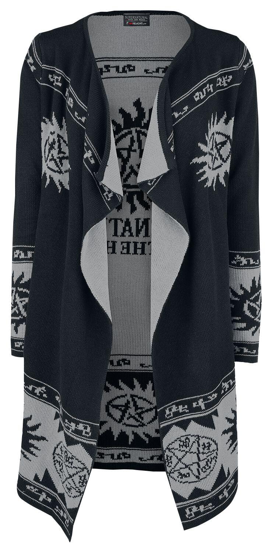 Image of   Supernatural Symbol Allover Pigecardigan sort-grå