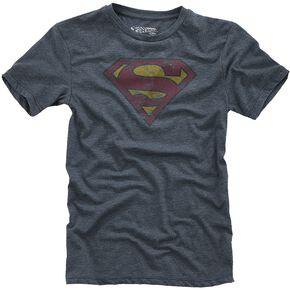 Superman Logo T-shirt Enfant bleu foncé chiné