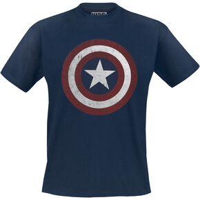 Captain America Logo Bouclier T-shirt marine
