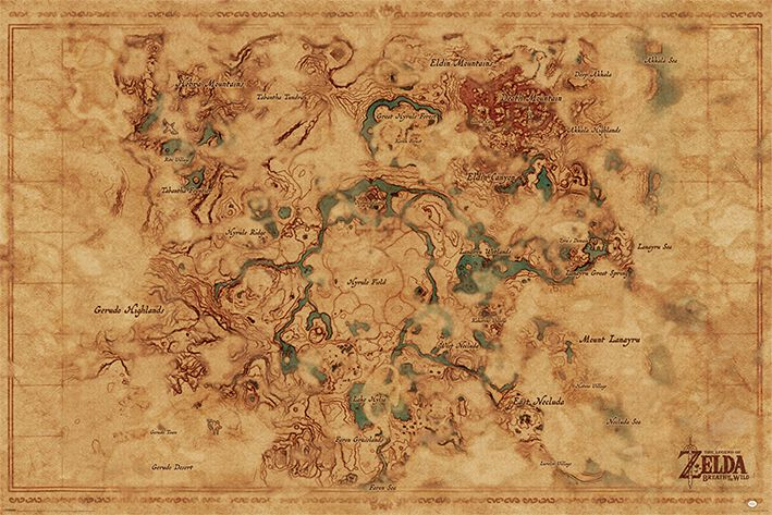 Image of   The Legend Of Zelda Breath Of The Wild - Hyrule World Map Plakat multifarvet