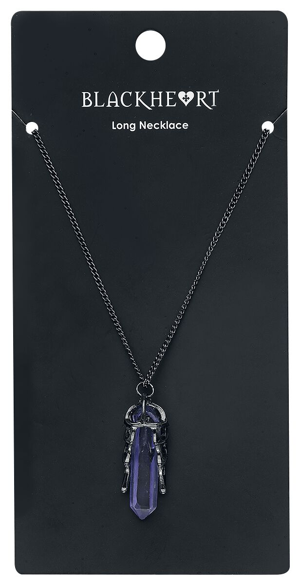 Image of   Blackheart Dragon Wing Crystal Necklace Halskæde sort-lilla
