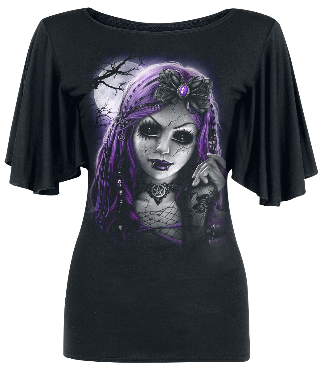 Image of   Spiral Goth Doll Girlie trøje sort