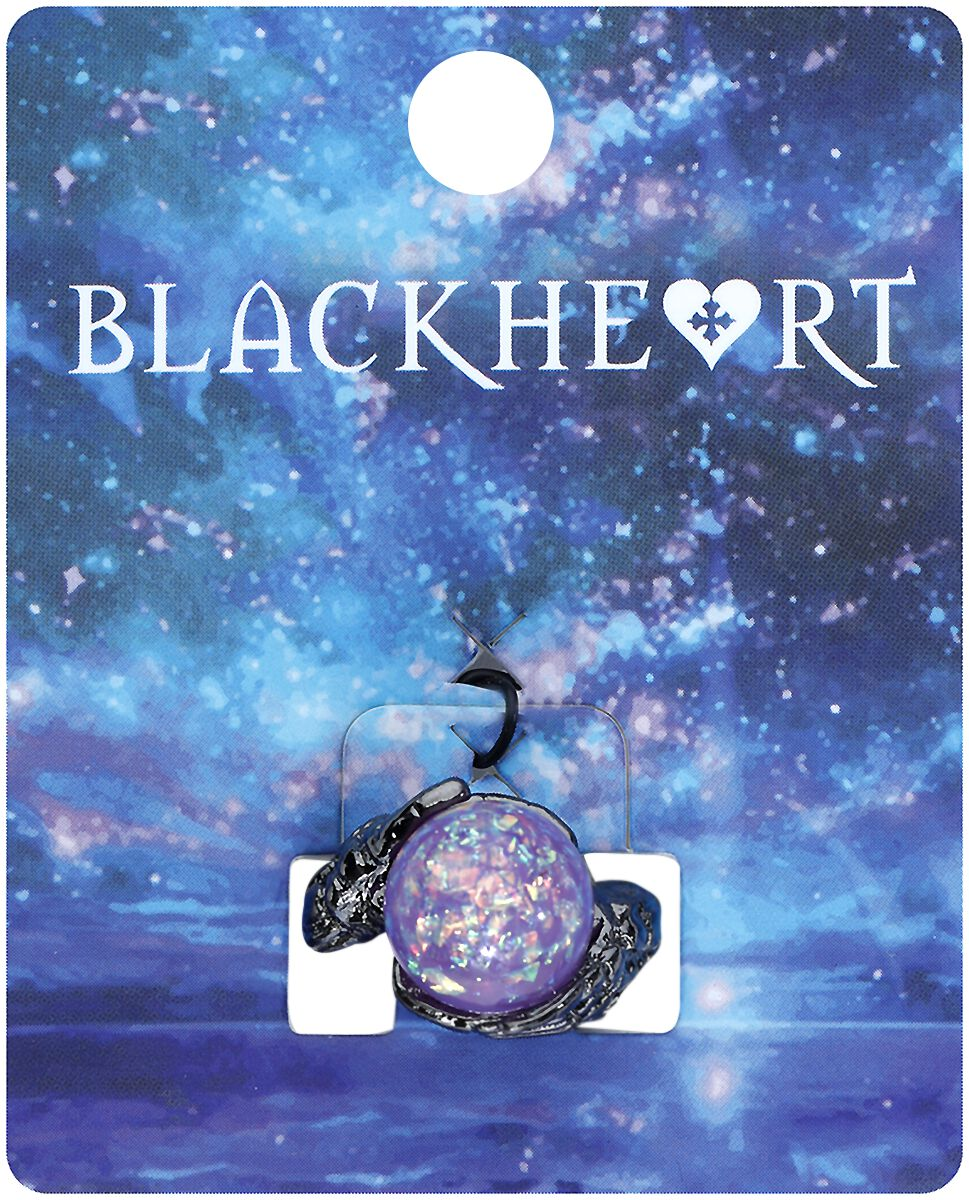 Image of   Blackheart Crystal Ball Ring sort-lilla