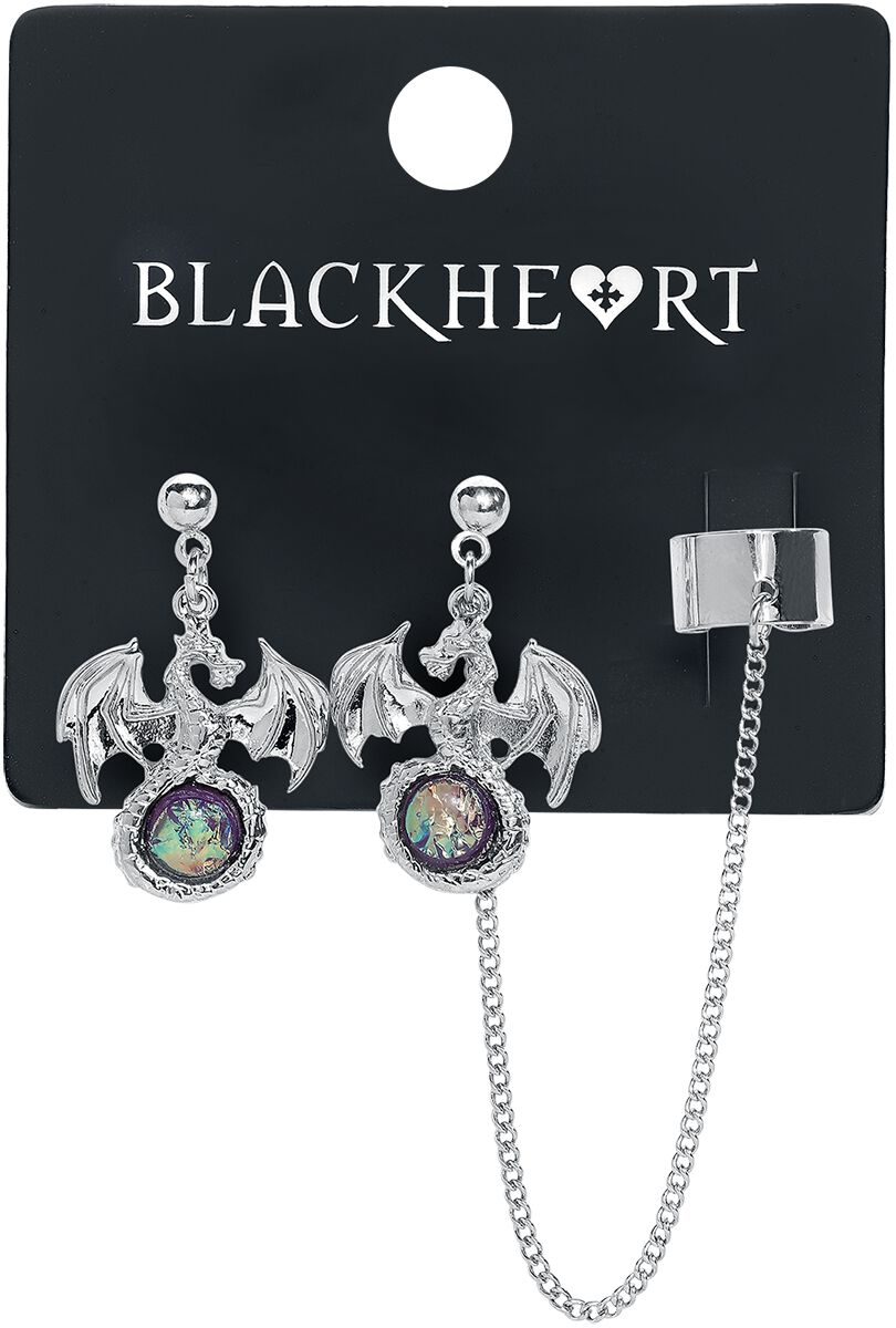 Image of   Blackheart Dragon Earrings with Cuff Øreringe sæt sølvfarvet