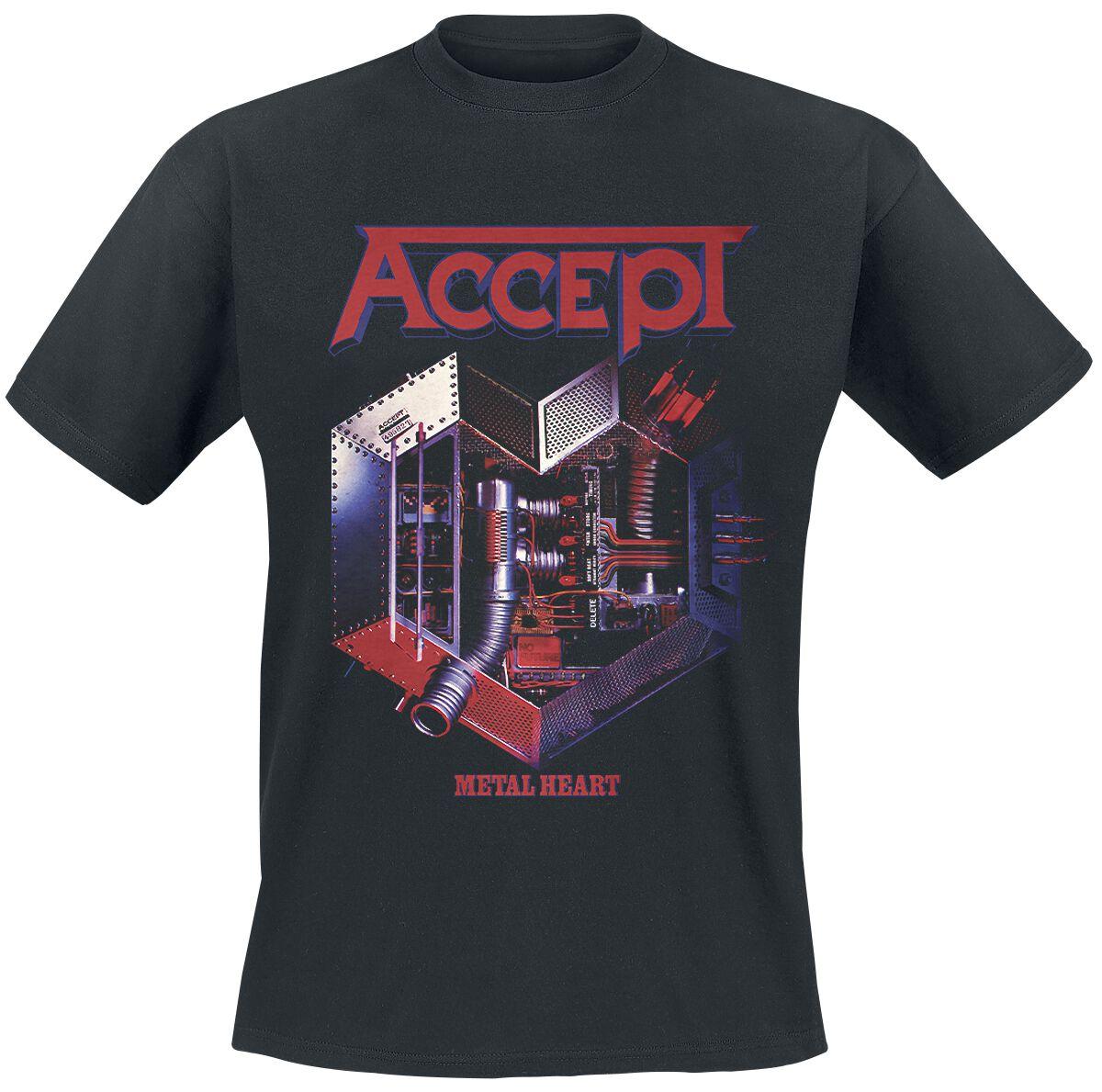 Image of   Accept Metal Heart T-Shirt sort