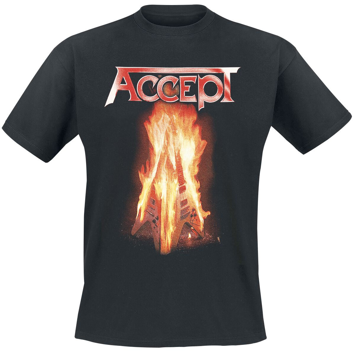 Image of   Accept Flying V T-Shirt sort