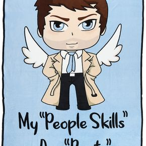 Supernatural Chibi Castiel Couverture polaire multicolore