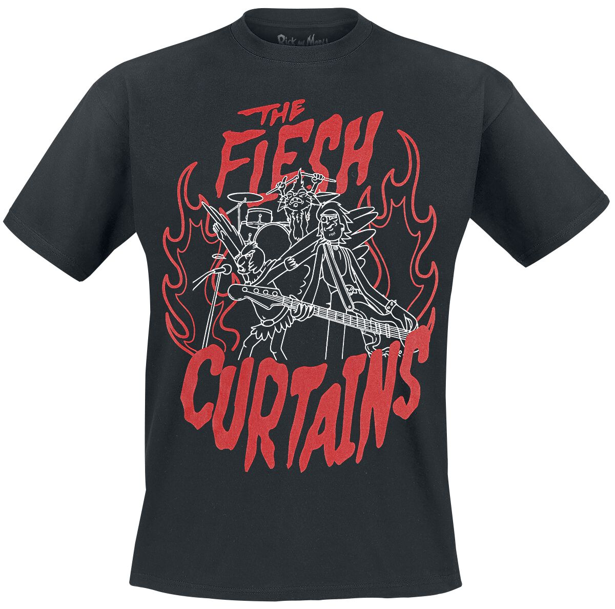 Image of   Rick And Morty Flesh Curtains T-Shirt sort