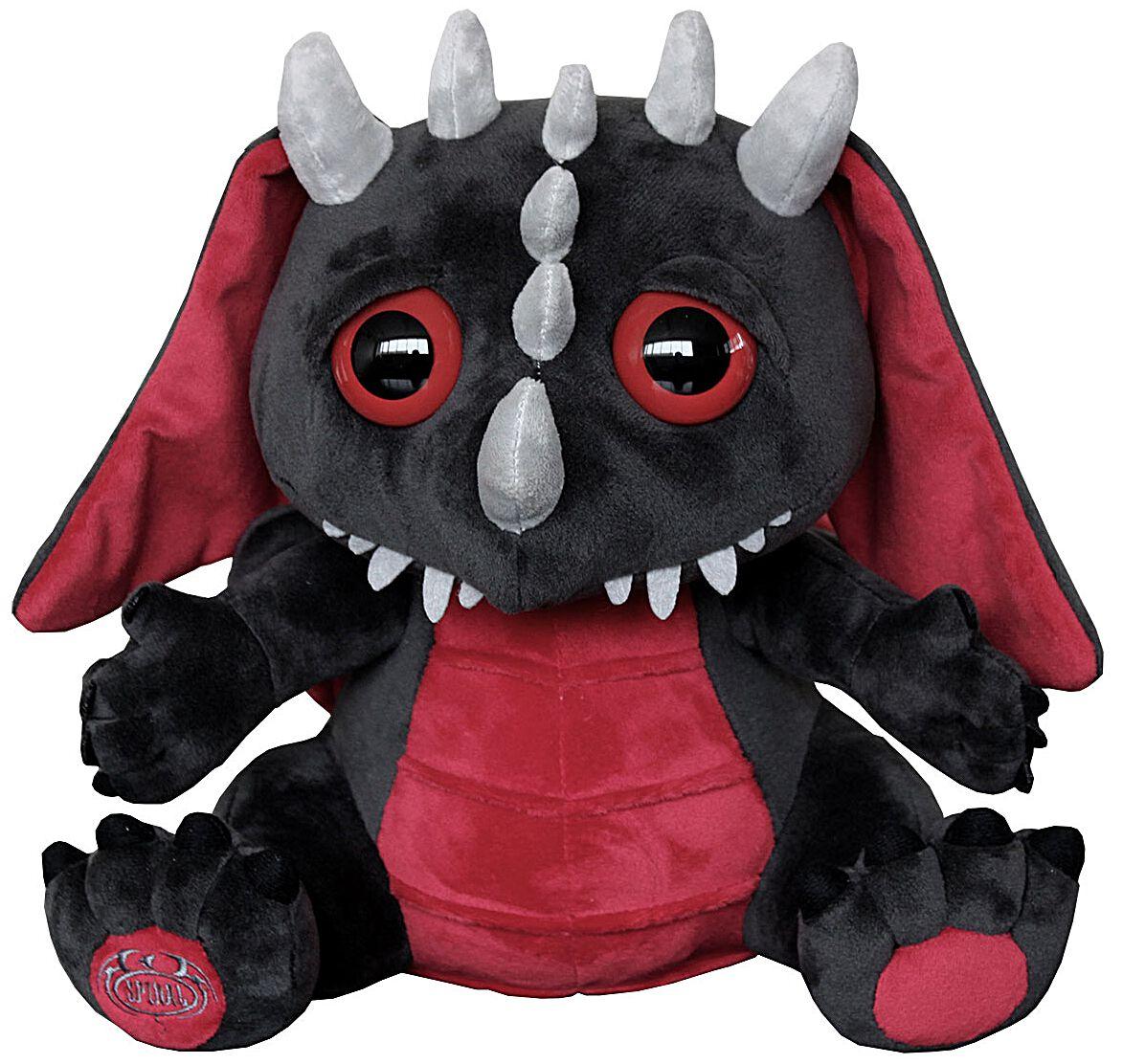 Image of   Spiral Dragon Plüsch Plysfigur sort-rød