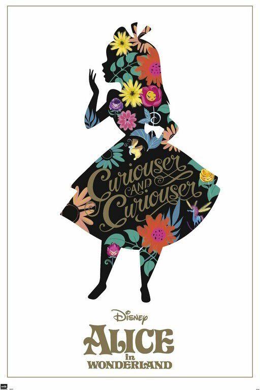 Image of   Alice i Eventyrland Silhouette Plakat multifarvet